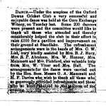 Oxford Downs CC - 1926 Dance - Newspaper Report