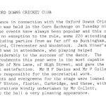 Oxford Downs CC - 1929 Dance Report