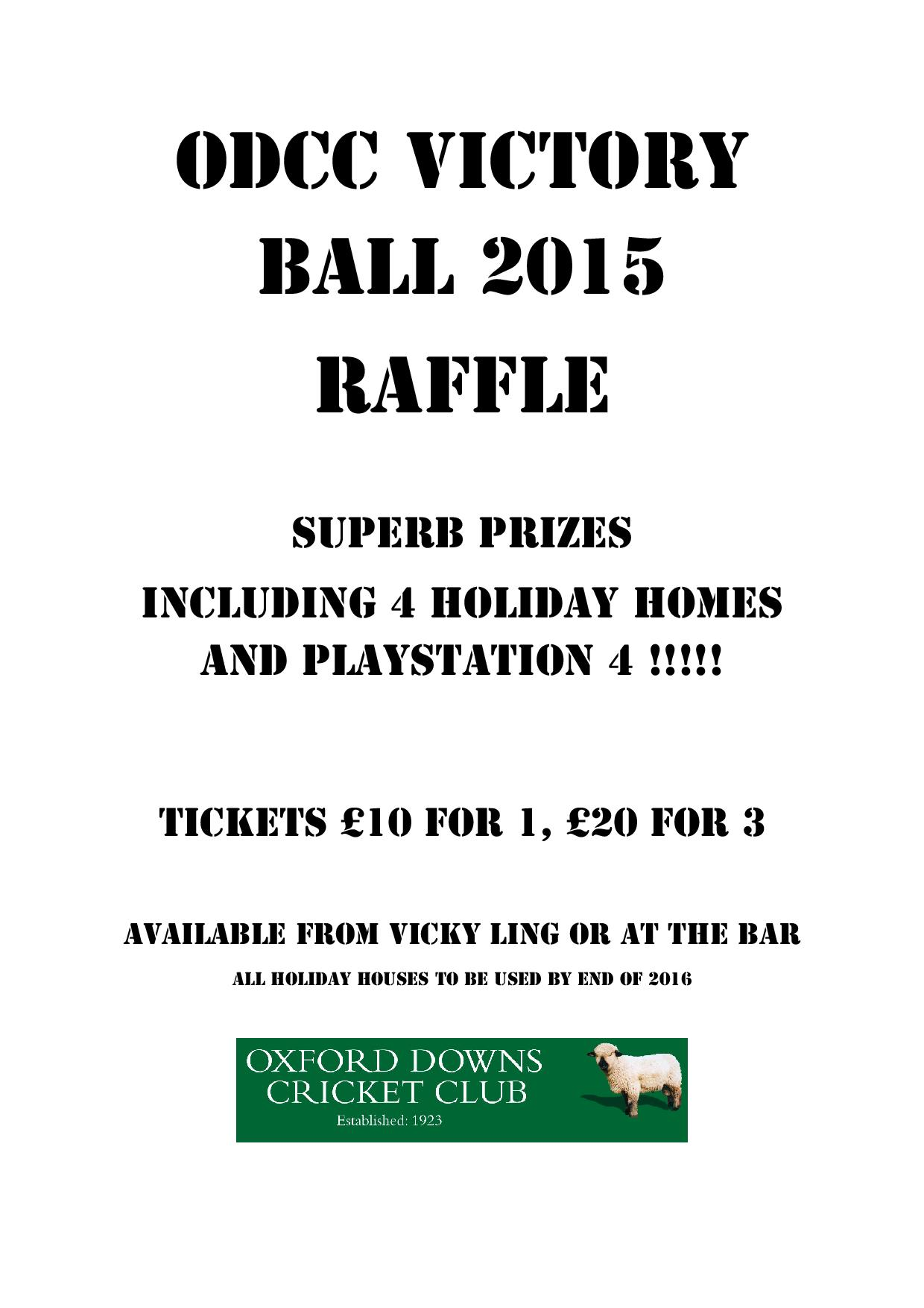 Full list of ODCC Ball 2015 Raffle Prizes